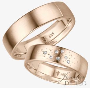 Rosé gouden trouwringen met 7briljant geslepen diamanten