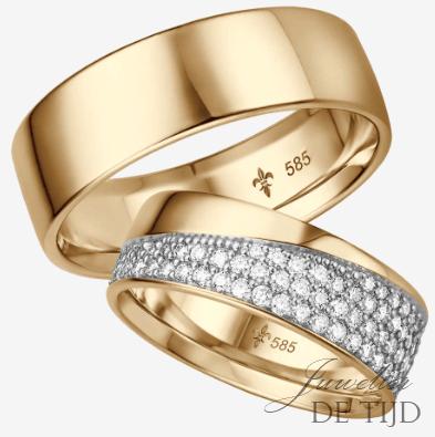 Geel gouden Trouwringen met 126 briljant geslepen diamanten
