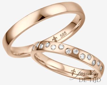 Rosé gouden trouwringen met 13 briljant geslepen diamanten