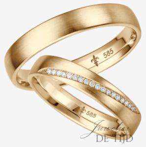 Geel gouden trouwringen met 18 briljant geslepen diamanten