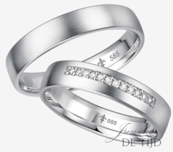 Wit gouden trouwringen met 12 briljant geslepen diamanten