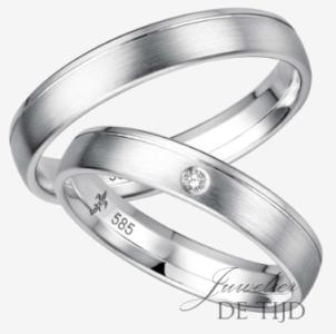 Wit gouden trouwringen met 1 briljant geslepen diamant