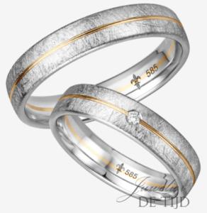 Bi-color wit/geel gouden trouwringen met 1 briljant geslepen diamant
