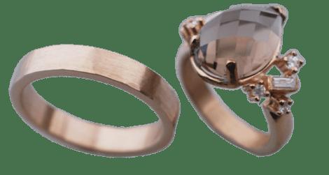 14 karaats geel gouden trouwringen met rookkwarts en diamant
