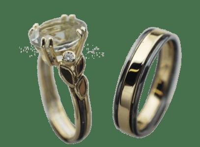 14 karaats geel gouden Trouwringen met prasioliet