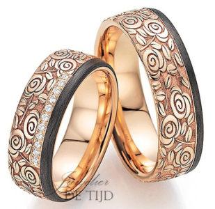 Rood met carbon gouden trouwringen en 11 briljant geslepen diamanten