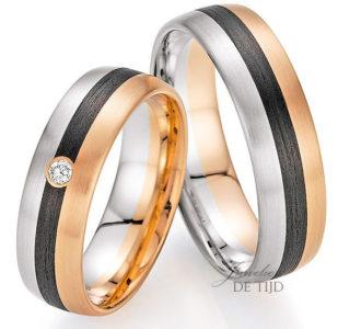 Wit & abrikoos gouden met carbon trouwringen en 1 briljant geslepen diamant