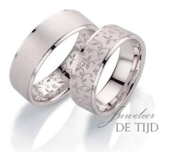 Flora rozentrouwringen witgoud met briljant geslepen diamant
