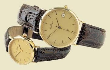 14 karaats geel gouden herenhorloge met leren band