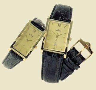 14 karaats geel gouden horloge met leren band.