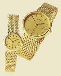 14 karaats geel gouden horloge met fijne gouden band
