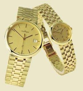 14 karaats geel gouden herenhorloge met gouden schakelband
