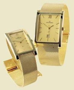 14 karaats geel gouden horloge met gouden milanese band