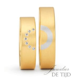 Gouden trouwringen met platina Love collection met diamant