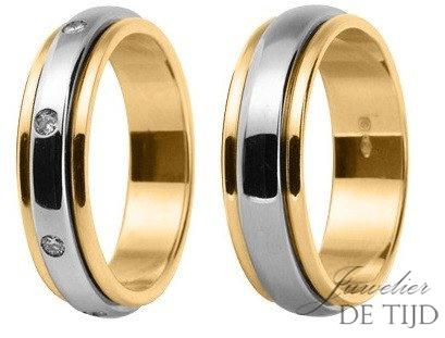 Bi-color geel/wit gouden Trouwringen met 8 briljant geslepen diamanten 5&6,5mm breed