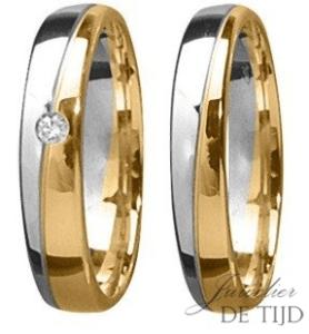 Bi-color geel/wit gouden trouwringen met briljant geslepen diamant 4mm breed