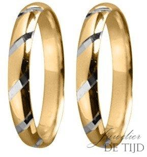 Bi-color geel/wit gouden Trouwringen 3mm breed