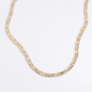 14 karaats Bi-color wit met geel gouden collier