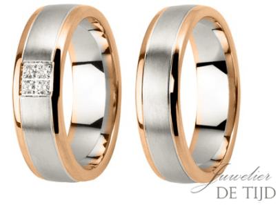 Bi-color wit/rosé gouden trouwringen 6mm breed met briljant