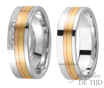 Tricolor gouden trouwringen 6,3mm breed, met 5 briljanten