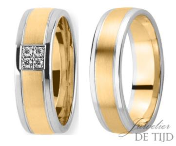 Bi-color geel/wit gouden trouwringen 6mm breed met 4 briljanten