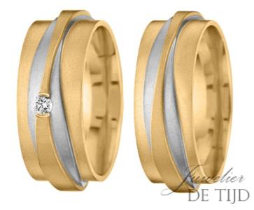 Bi-color geel/wit gouden trouwringen 8mm breed met één briljant