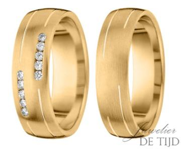 Geel gouden trouwringen 6mm breed met 10 briljanten
