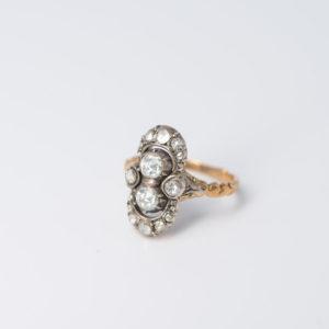 14 karaats gouden roos diamanten ring