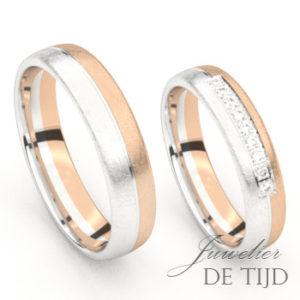 Bi-color rosé/wit gouden trouwringen met 9 briljant geslepen diamanten