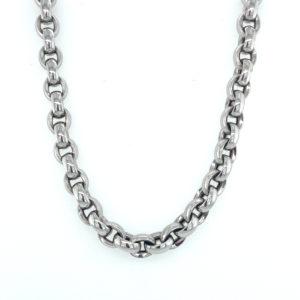 14 karaats witgouden schakel collier