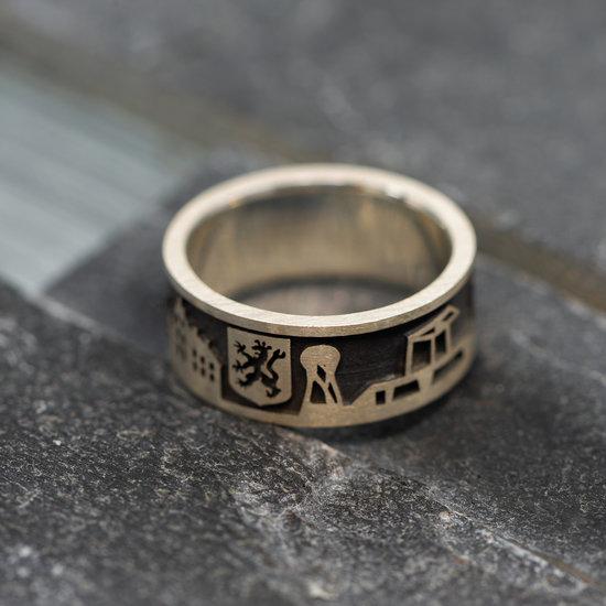 Zilveren Doetinchem ring zwart