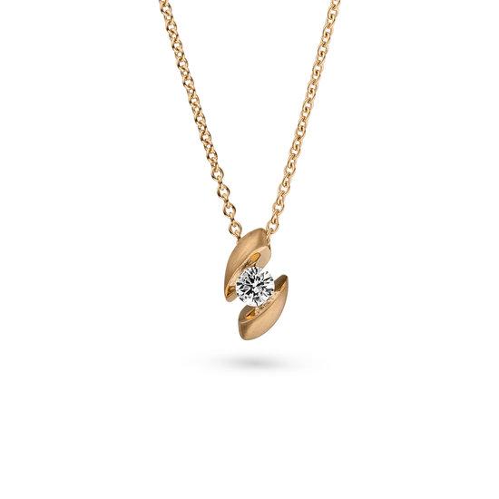 Design collier Calla met één briljant geslepen diamant