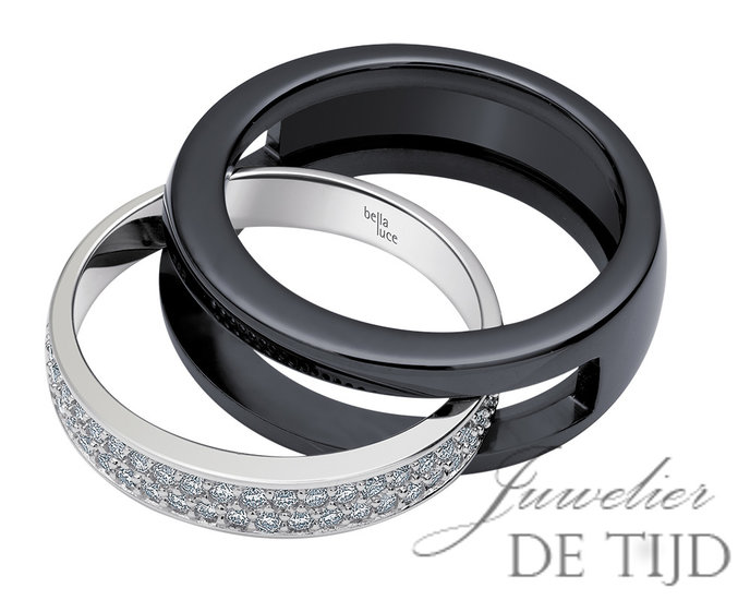 Wit gouden ring met keramiek buitenring