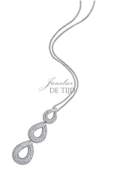 Wit gouden creolen Alena ® met briljant geslepen diamant