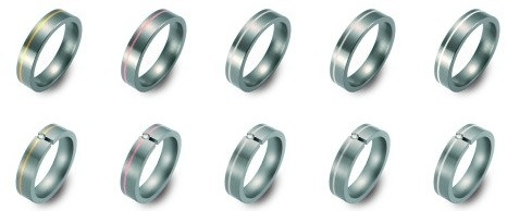 Bi-color titanium/platinum Trouwringen 5mm breed met één briljant