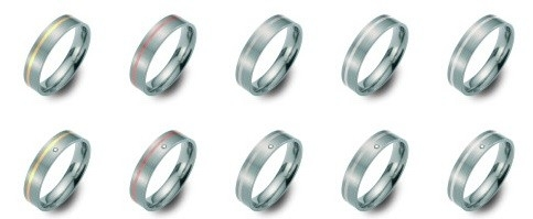 Bi-color titanium/Palladium trouwringen 6mm breed met één briljant