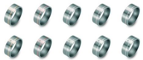 Bi-color titanium/platinum Trouwringen 7mm breed met één briljant