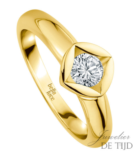 1,00ct briljant in 14 karaats gouden design solitaire ring