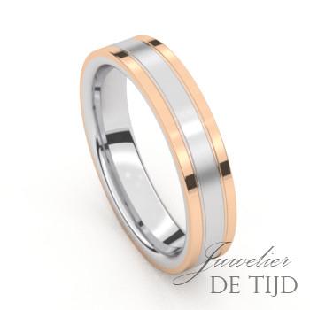 Bi-color rosé gouden trouwringen met edelstaal en 9 briljant geslepen diamanten