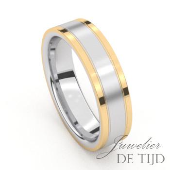 Bi-colo geel gouden trouwringen met edelstaal en 9 briljant geslepen diamanten