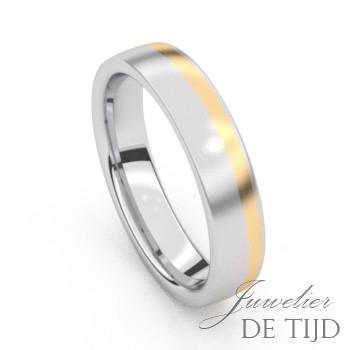 Bi-color edelstalen trouwringen met geel goud en briljant geslepen diamanten