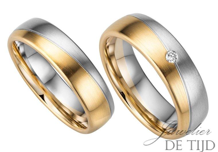 14 karaats Bi-color geel/wit gouden trouwringen Chloé