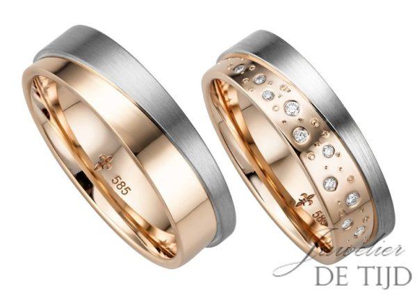 14 karaats Bi-color rosé/wit gouden trouwringen Celine