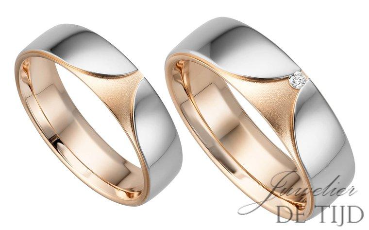 14 karaats Bi-color rosé/wit gouden trouwringen Sophie