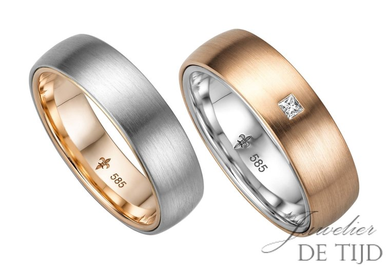 14 karaats Bi-color rosé/wit gouden trouwringen Camille