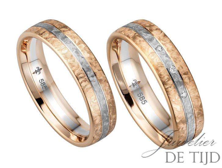 14 karaats Bi-color rosé/wit gouden trouwringen Étienne