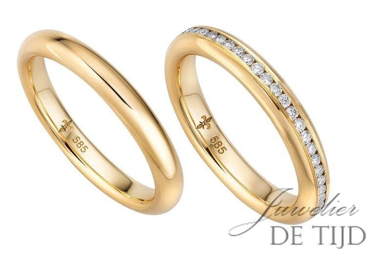 14 karaats geel gouden trouwringen Joséphine
