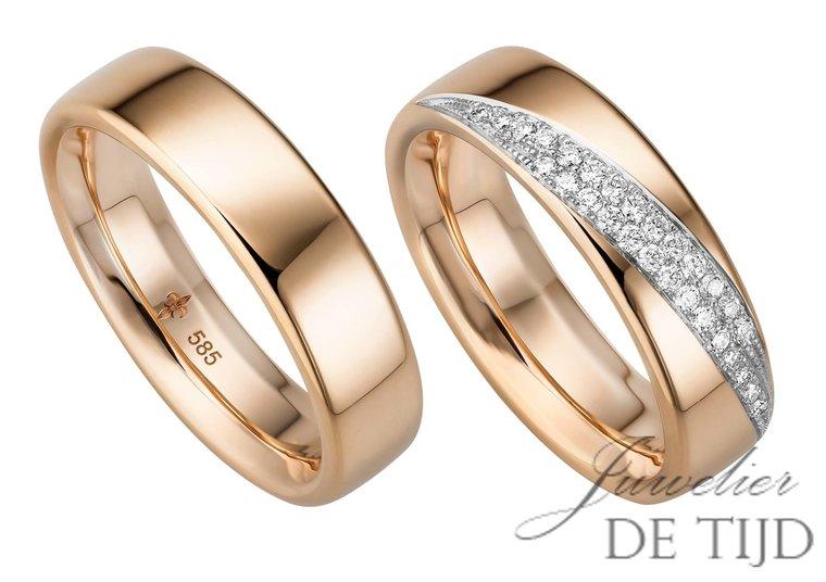 14 karaats rosé gouden trouwringen Tessa