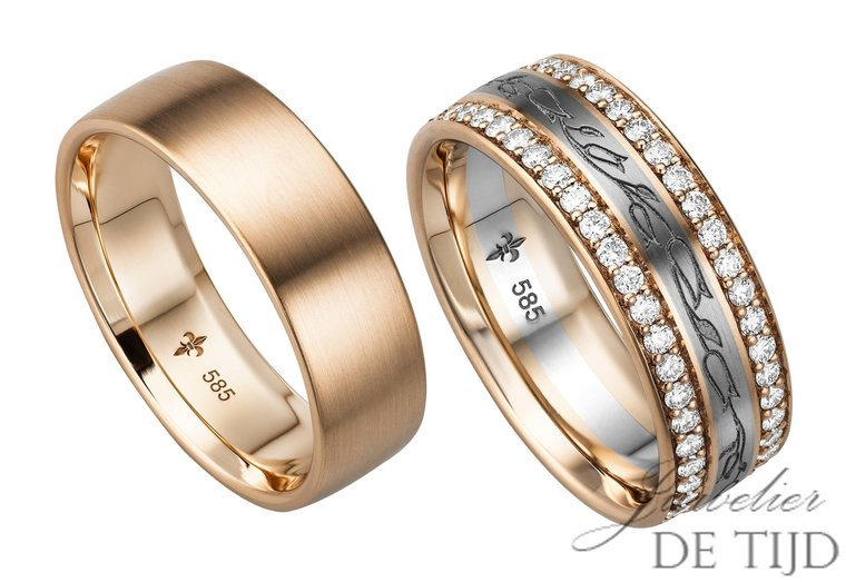 14 karaats rosé gouden trouwringen Lisette