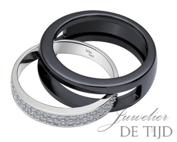 14 karaats wit gouden ring met keramiek binnenring